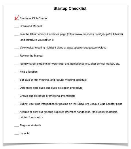 SL Start up checklist